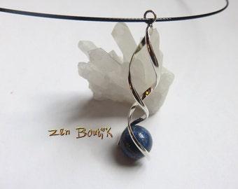 Lapis Lazuli in DNA spiral necklace