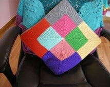 Color block pillow cover, cushion cover, knit pillowcase, knitted pillow case, 16x16 pillow case, home decor, colorfull pillow case,