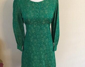 Green jaquard 60s dress Xs/S