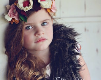 "LUXE Felt Floral Crown - ""Willow"" - Felt Flower Headband / Felt Crown"