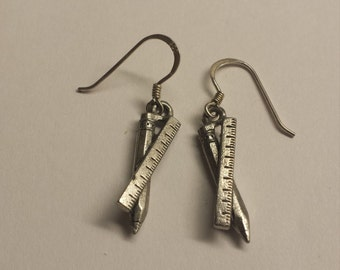 Sterling Silver Pencil and Ruler Earrings