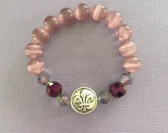 Pink Fleur De Lis Bracelet