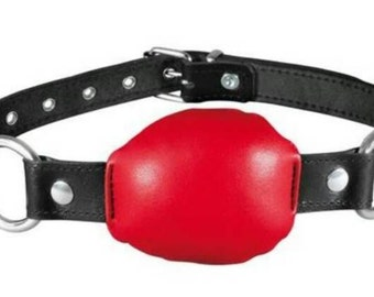 Leather ball gag, bite bag real leather!
