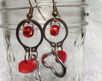 Valentine's Day Red Earrings repurposed hardware glass beads heart charms
