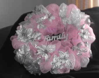 Art Deco Wreath in Pinks and Silver