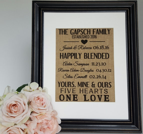 Wedding Gift Ideas Blended Family : Personalized Burlap Wedding Gift - Blended Family Burlap Sign - Family ...