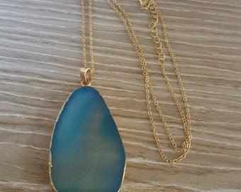 Blue Faux Agate Druzy Necklace