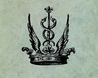 Winged Crown with Entwined Snakes - Antique Style Clear Stamp