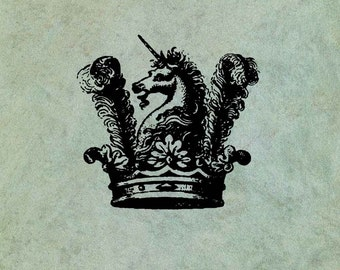 Unicorn in a Crown - Antique Style Clear Stamp