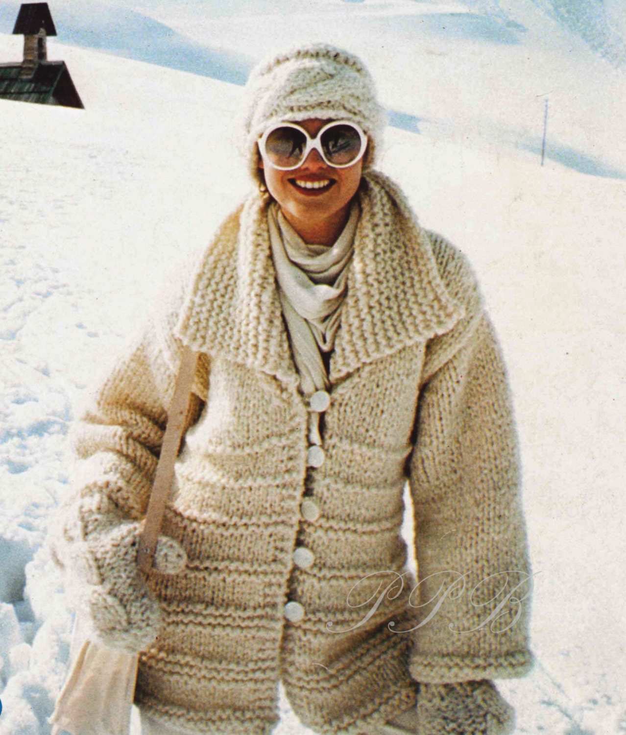 Knitting Patterns For Winter Jackets : Ladies Knitted Jacket ... Chunky Winter Knit ... PDF Knitting