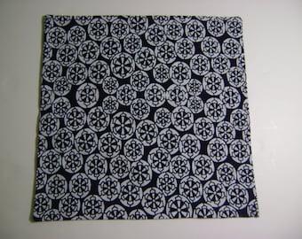 Men's Pocket Square Handkerchief from Repurposed Kimono Cotton Indigo Geometric Circle Design