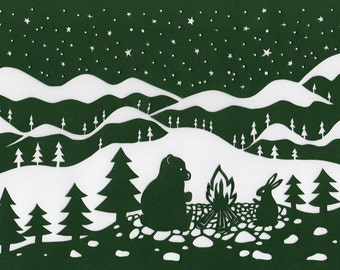 "Christmas greetingcard ""Bear&Hare"" (set of 5 cards)"