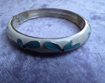 White and Blue Enamel Hinged Bangle Bracelet