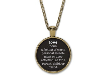 LOVE Definition Necklace, Dictionary Necklace, Love Necklace, Bronzed, Round Pendant with Chain, Word Definition