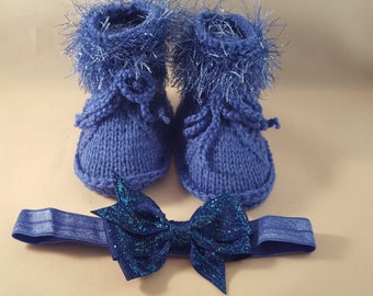 Blue Baby booties and headband