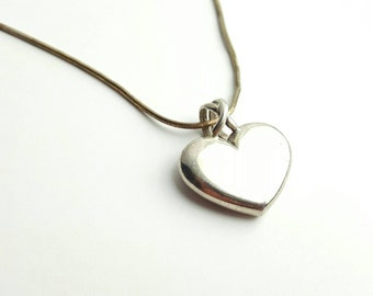 Vintage Sterling Silver Heart Charm Necklace with 14 Inch Snake Chain