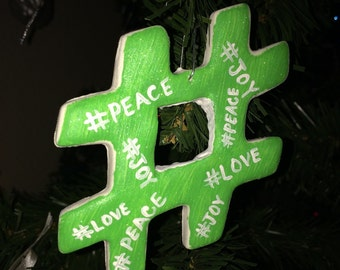 Hashtag Christmas Spirit Ornament- Medium/Large size