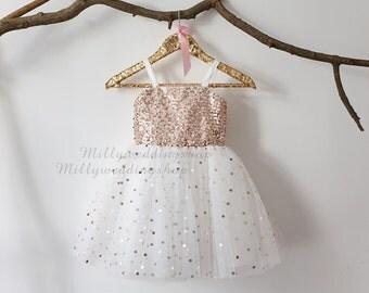 Thin Straps Rose Gold Sequin Tulle Flower Girl Dress Wedding Junior Bridesmaid Dress M0018