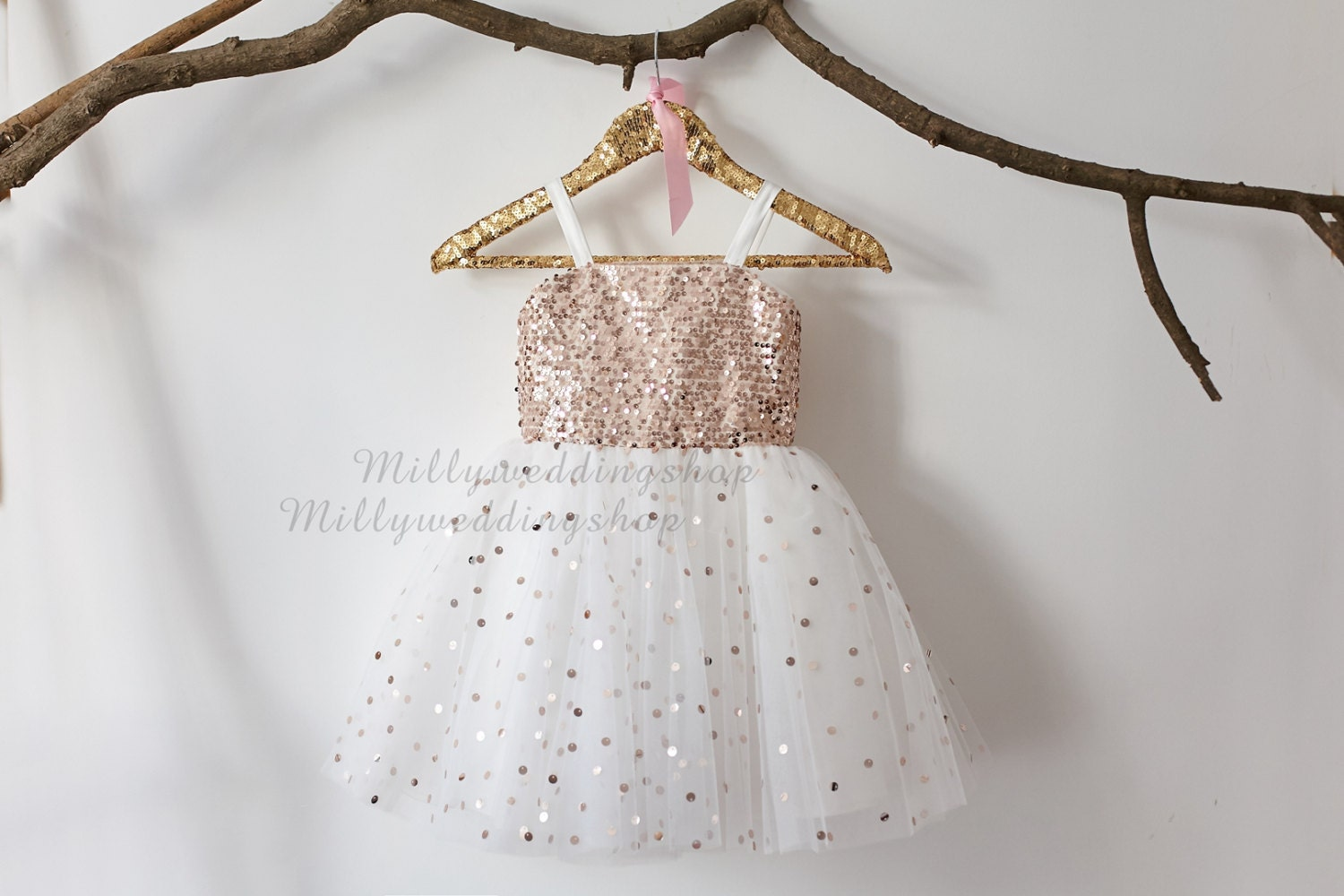 Thin Straps Rose Gold Sequin Tulle Flower Girl Dress Wedding