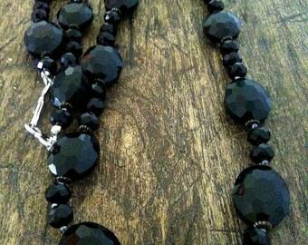 Black Crystal Necklace. beautiful, elegant.