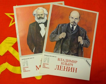 """Mini Posters """"Revolutionaries"""" in German and Russian, Marks pages of life with colored images, Karl Marks biography book"""