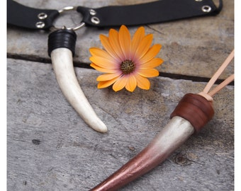 Hand wrapped leather Elk Horn choker necklace