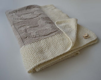 hand knit wool baby blanket 'little horses'