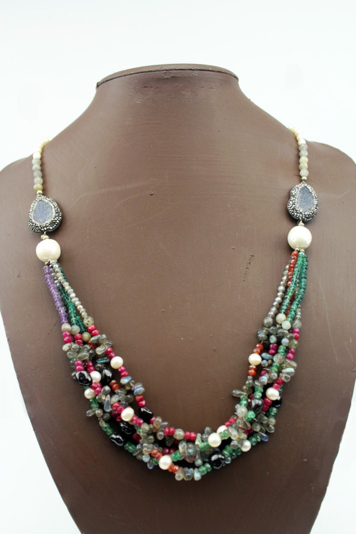 Natural Stone Jewelry : Handmade natural stone necklace colorful semi precious