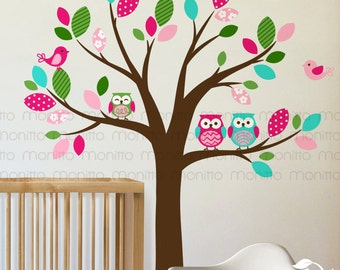 Colorful Owl Tree Wall Decal with Birds Owls Wall Decal, Nursery, Branch, Pattern Wall Decals Wall Sticker [MT021]