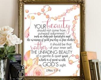 1 Peter 3:3-4; Women print, women quote, bible prin, bible prints, bible printable, scripture decor, scripture printables, bible printables