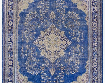 9x12 Ft  Vintage Turkish Oushak Area Rug. Blue and beige colors. Authentic old handmade carpet made of wool and cotton.  Y51