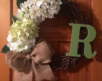 Vine wreath with hydrangeas **FREE SHIPPING!!!!**