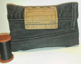 Upcycled vans denim magnetic snap closure accessory pouch