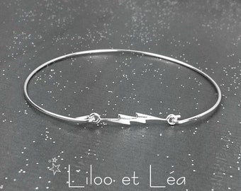 Lightning cuff bracelet, sterling silver 925