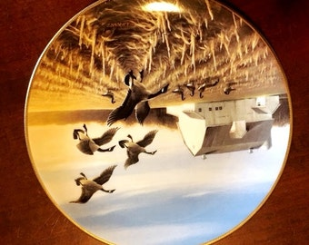 Ducks Unlimited Collector Plate-Canada Geese in the Autumn Field