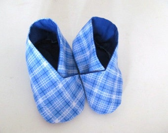 Baby Booties Blue Check