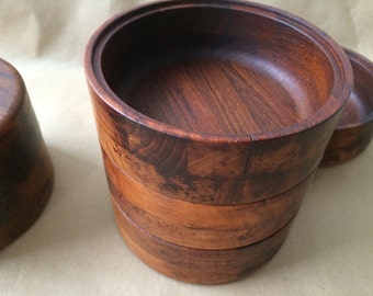 20% off original price: 60-70s Wooden teak salad bowls, stacking, hand-crafted Denmark