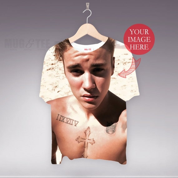 Personalised Justin Bieber Photo T Shirt Holiday Tee Your