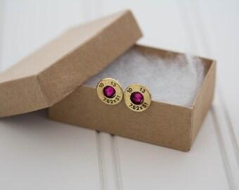 308 Earrings Magenta Crystal - Ready to Ship