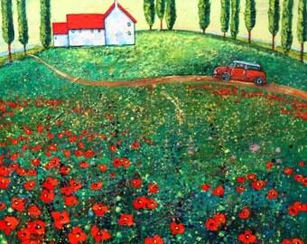 Original Modern textured red poppies landscape modern bright painting