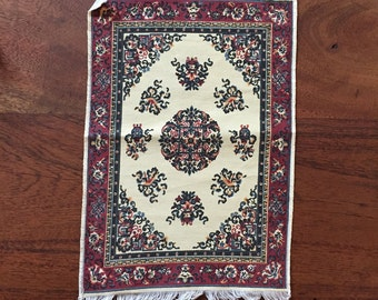 1:12 Dollhouse Area Rug Red and Blue Turkish pattern, printed pattern, tassel edging