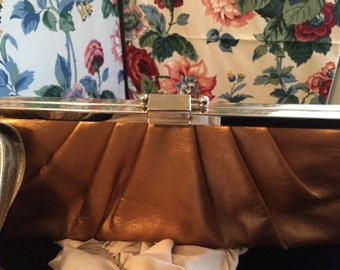 Gold and Rust Color Clutch Purse