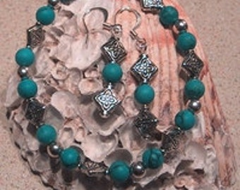 Turqouise Earrings and Bracelet