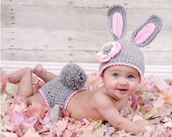Bunny Infant Photo Prop Crochet Easter Baby Diaper Cover New