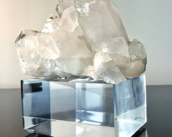 """Large Quartz Cluster Mounted on 2"""" Lucite Museum Stand"""