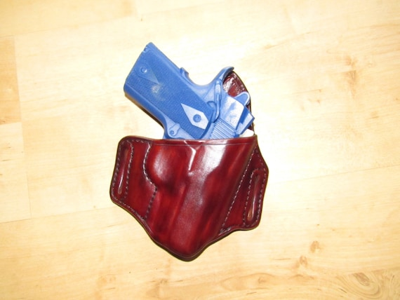"Leather Holster for 1911 Compact, 3"" barrel, custom crafted from premium leather for EDC, OWB"