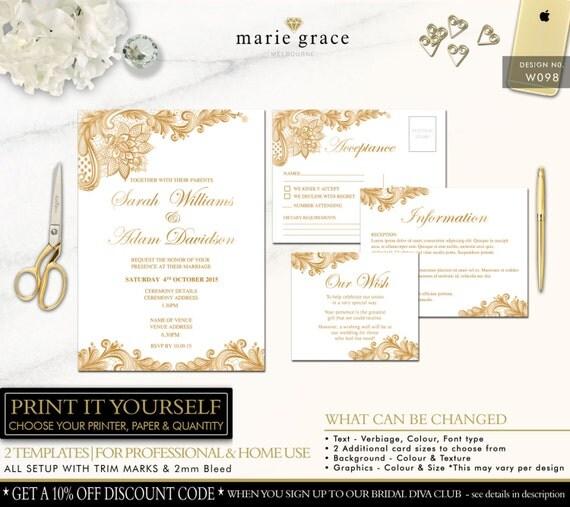 Gold Lace Wedding Invitation Template Printable Invite Set