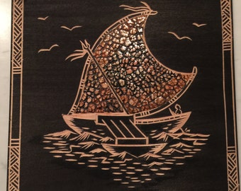 Traditional Fijian Hand Carved Wood Block Print 2 Sided