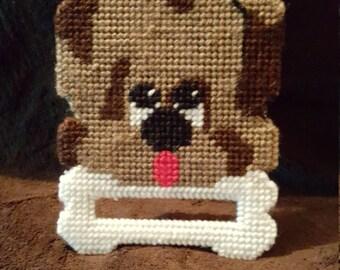 Dog dish towelholder