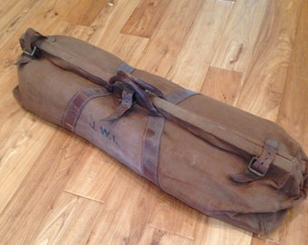 Vintage linen English Cricket large duffel bag
